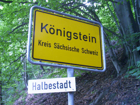 Ortseingang Königstein - Halbestadt wanderung königstein prossen