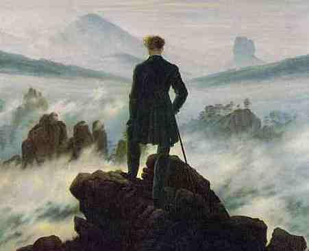 Der Wanderer über dem Nebelmeer. Der Fels im Vordergrund liegt an der Kaiserkrone.