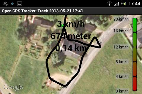 Test: Die kleine Wanderung um ein Haus wird korrekt aufgezeichnet. (Open GPS Tracker)